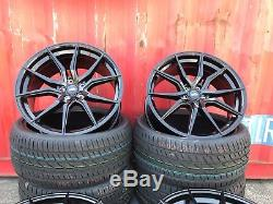 20 Spyder Turbine Gloss Black Alloy Wheels+tyres To Vw T5 T6 850kg Load