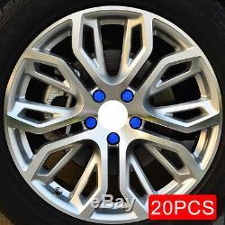 20x Blue Rubber Car Wheel Rims Hub Bolt Screw Cap Cover Protector Accessories