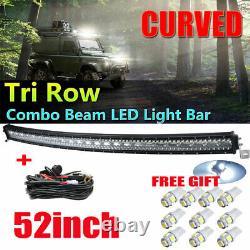 2275W Light Bar Tri-Row 52 Inch Curved LED Bar Spot Flood Combo /Wiring T10 Bulb