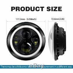 2x 7Inch Round LED Headlights Halo Angle Eyes for Jeep Wrangler JK LJ 97-2018