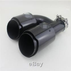 2x Polished Car Exhaust Muffler Tip Pipe 2.5 Inlet h Style Black Carbon Steel