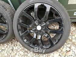 4x GENUINE BLACK LAND ROVER RANGE ROVER DISCOVERY 22 ALLOY WHEELS GOOD TYRES