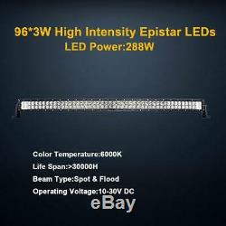 50INCH Driving Lamp 288W Flood/Spot Combo Light Curved LED Light Bar SUV Truck