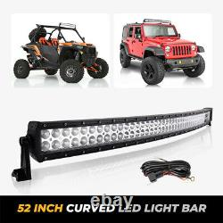 52 Inch Curved Led Work Light Bar For Truck Offrod SUV Driving Lamp With Harness