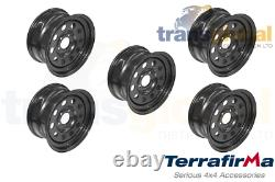Black Modular 8x16 Steel Wheels x5 for Land Rover Discovery 2 Terrafirma GRW012