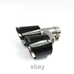 Carbon Fiber Exhaust Pipe Tail Muffler Tip Left + Right 2.48inch 3.5 inch out