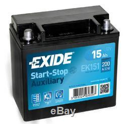 EXIDE EK151 AGM 12V 15AH 200A Auxiliary Battery JAGUAR LAND ROVER CX23-10C655-AC