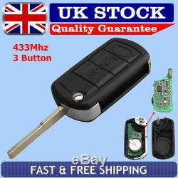 For Land Rover Discovery 3 Range Rover Sport 433Mhz Remote Flip Key Fob 3 Button