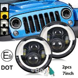 Hi/Lo + HALO 7 Inch LED HEADLIGHT PAIR for Land Rover Defender SAE E Approved