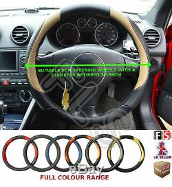 Universal Black/beige 37 To 39cm Faux Leather Steering Wheel Cover-lrv
