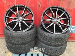 VW Transporter T5 T6 20 inch Alloy Wheels And Tyres Black PEARL HIGH LOAD 850KG