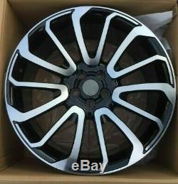 X4 22 Range Rover Style Turbine Alloy Wheels Black Pol Vogue Sport Discovery